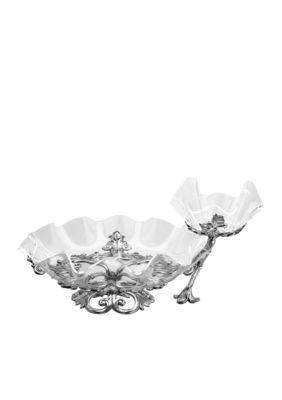 Arthur Court Fleur-De-Lis Chip And Dip With Acrylic Bowl - Silver - One Size