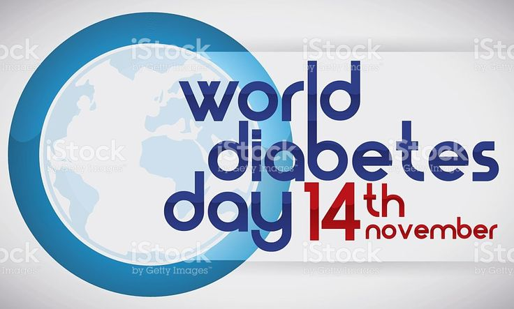 Blue Circle, Globe and Reminder Date of World Diabetes Day