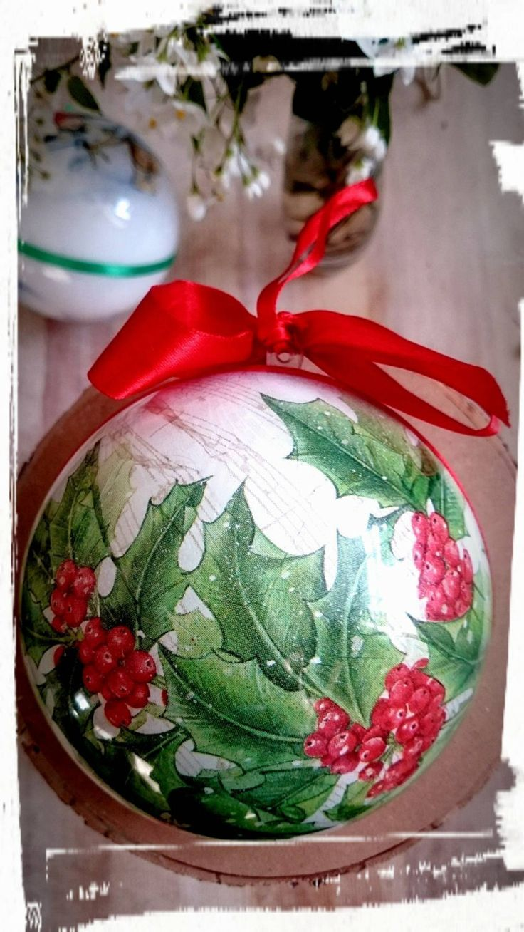 Hollychristmas Bauble,christmas Ornaments,christmas Wishes,bespoke Ornament,  By Magdalenamagic