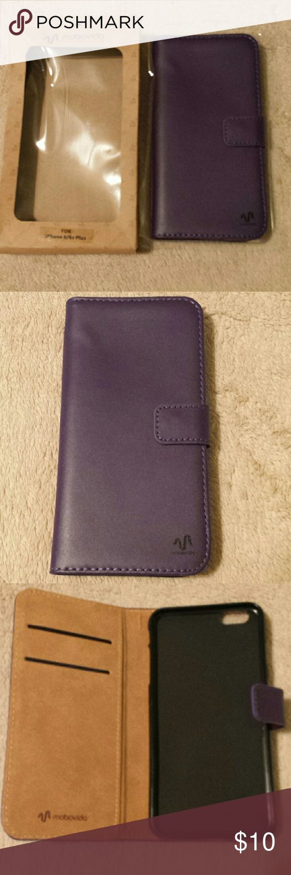 Purple Leather iPhone 6/6s Plus Wallet Case. New. Genuine leather folding wallet case for Apple iPhone 6/6s Plus. 2 inside card slots & interior compartment. Magnet closure. Precise cutouts for camera and ports. New in box. No tags. Accessories Phone Cases