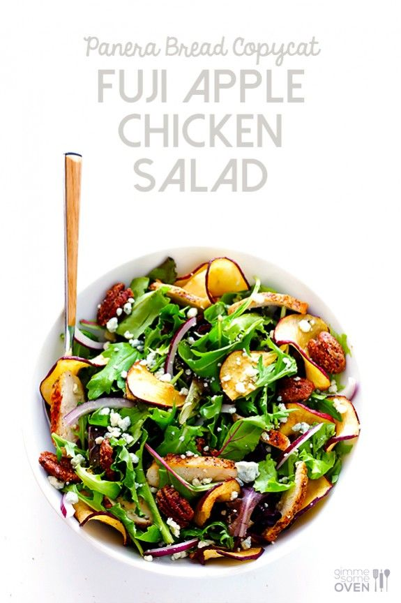 This Fuji Apple Chicken Salad recipe was inspired by Panera Bread, yet it's so easy to make homemade. Trust me, I've been making it for years! | gimmesomeoven.com