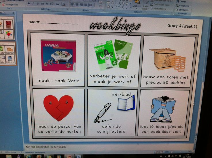 Hebben de leerlingen hun werk af? Dan kunnen ze iets kiezen van deze bingo-kaart. Kaart vol? stickertje halen bij de juf!