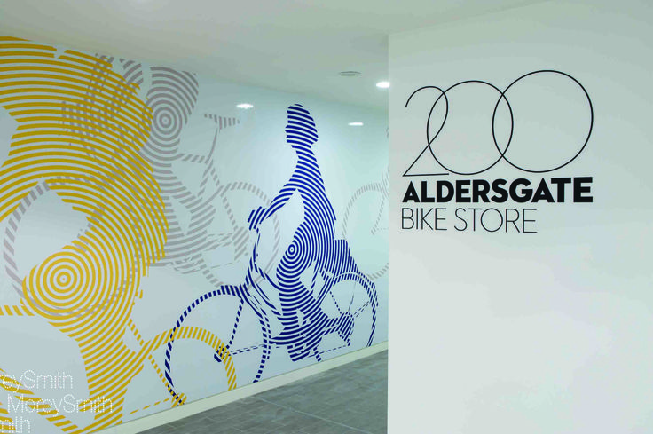 200 Aldersgate - Benchmark bike and changing facility, graphics by DN&Co.