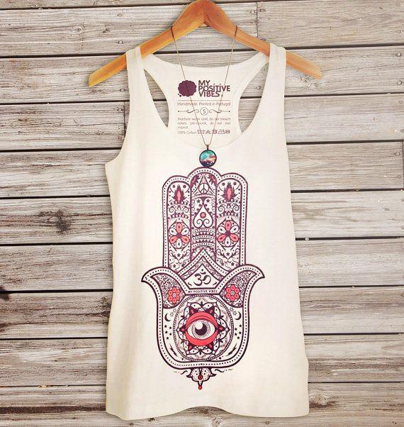 Hamsa tank top yoga tank top hamsa t-shirt por myPositiveVibes