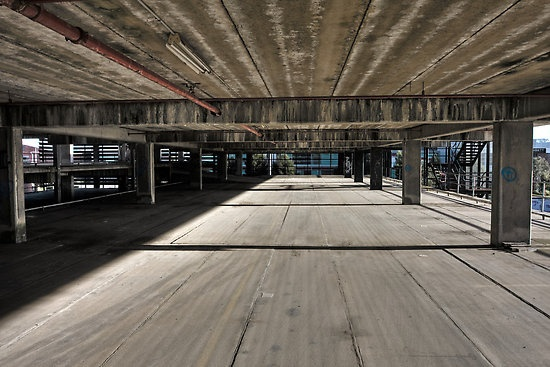 'The Speed Of Concrete' Original photographic image shot in Port Melbourne, 2011.  #urban #industrial #carpark #photography  This work can be purchased as a print at redbubble.com