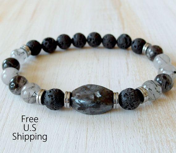 Men's black Moonstone, Rutilated Quartz, Bracelet, Mala bracelet, Reiki Charged, Energy bracelet, tribal bracelet, yoga mala, buddhist mala