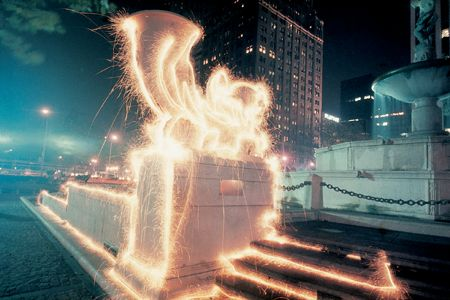 Eric Staller's light paintings - Pulitzer Fountain