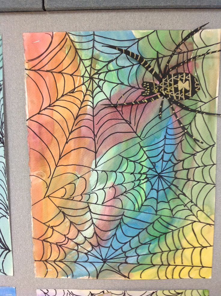 Draw webs with sharpie.  Watercolor wash.  Spider is drawn with paint markers on…