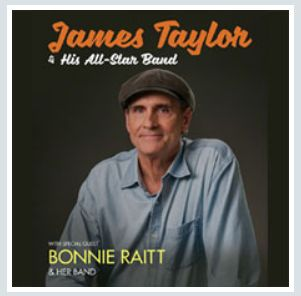 2018 - JAMES TAYLOR, July 20 in Lucca; July 21 in Pompei (Naples); July 22, Terme di Caracalla (Rome); tickets are available in Vicenza at Media World, Palladio Shopping Center, or online at www.ticketone.it and www.getticket.it.