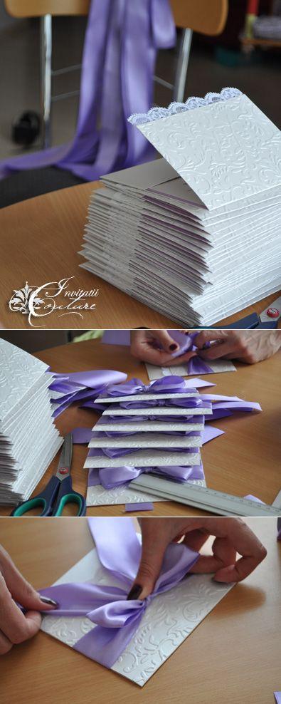 Handmade by Meda: Loukia's Lavender and Diamond Invitations (Invitatiile Loukiei in culorile diamantului si lavandei)