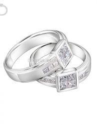 Cincin Kawin Emas Putih + Perak - GD41088 cincin elegan cantik