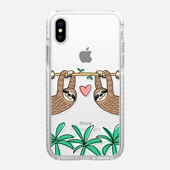 detailed look 96bc9 3b78e Casetify iPhone X Impact Case - Sloth Couple - Tropical Animal ...