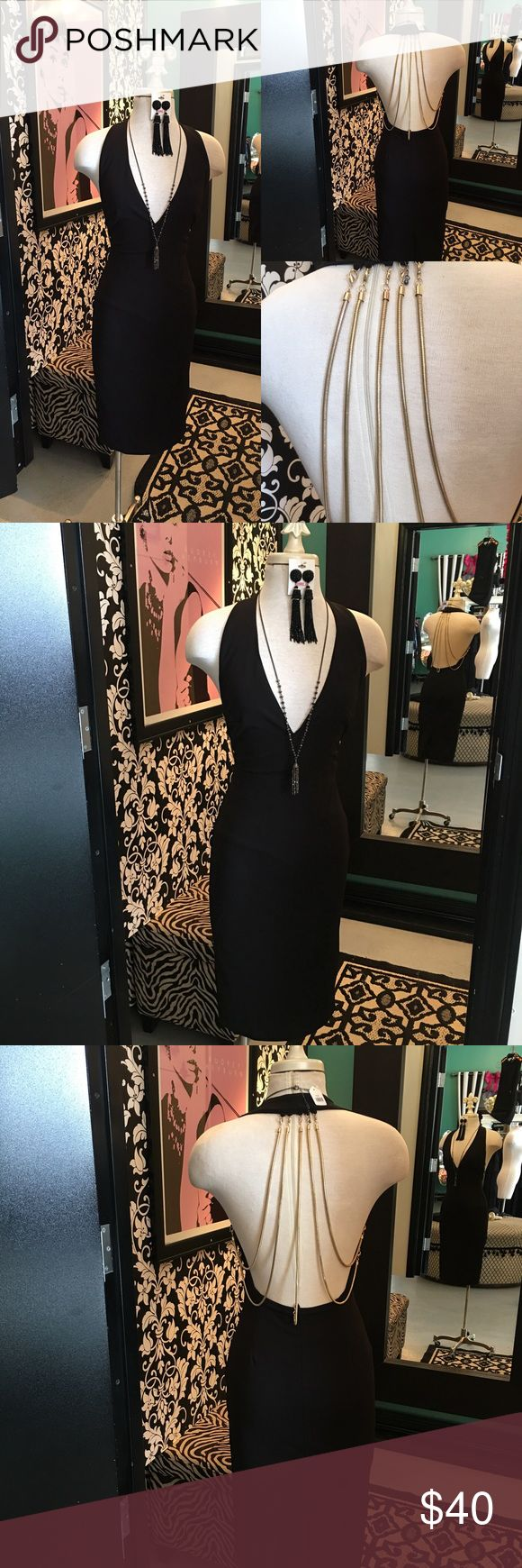 Chain Back Dress by Xtaren Hello, and Welcome to GIRLe Boutique 🌺 This is my Fabulous Shoppe' here on Poshmark👗.  All my Items are New With Tags & Handpicked by Me - Christina 💋 Amazing Quality at Rock Bottom Prices .             Sale Price: $40  -  Reg: $90  Fabric : 95% Polyester- 5% Spandex Beautiful Gold Chain Back Dress - Halter Like Design- Side Zipper - Low V - Front style - Dress is Lined  🌺Accessories Not Included 🌺 Thanks For Looking & Always Let your Clothes get All the…