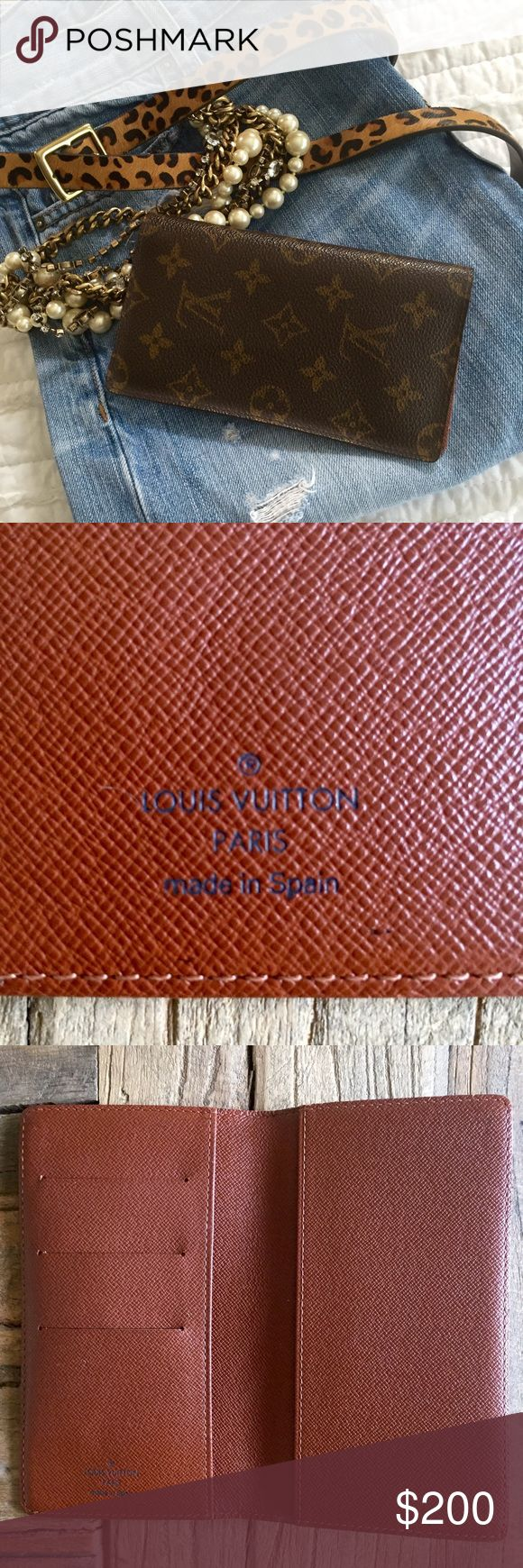 Louis Vuitton Wallet PRICE FIRM NO OFFERS‼️ AUTHENTIC LV checkbook cover/ with slots for drivers license and credit cards, also a place for cash. Inside under slot there is a DATE CODE:  CA0999 . I got this as a gift and it has been sitting in a drawer unused for a few years, basically I forgot about it. EUC, no box or dust bag. There is a 2nd listing with more pictures. Louis Vuitton Bags Wallets