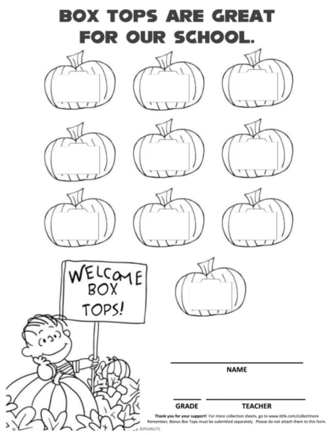 October It's the Great Pumpkin, Charlie Brown Halloween Peanuts Box Tops collection sheet.