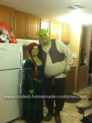 Homemade Shrek and Fiona Costume: My boyfriend came up with the idea to be Shrek and Fiona for Halloween since our height difference was perfect (he is 6'5 and I am 5'2). Once I heard the