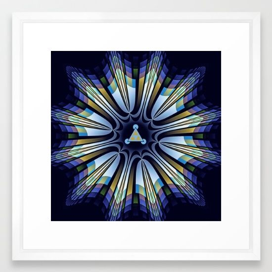 Retro design star in blue, gold, green and pink Framed Art Print
