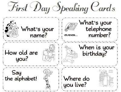 BACK TO SCHOOL ACTIVITY (speaking cards) 5°