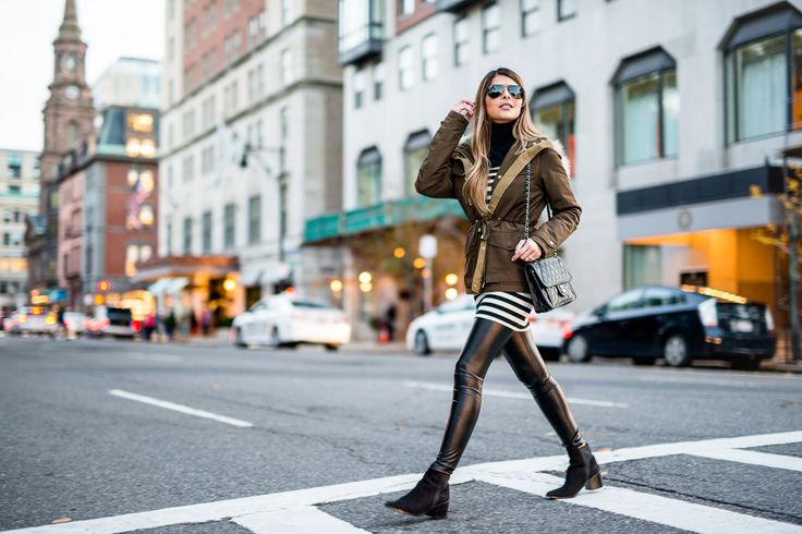 Pam Hetlinger wearing a Topshop Parka with faux fur hood, Aldo pointed toe booties, Topshop striped dress, Faux leather leggings and a Chanel French Riviera Flap bag