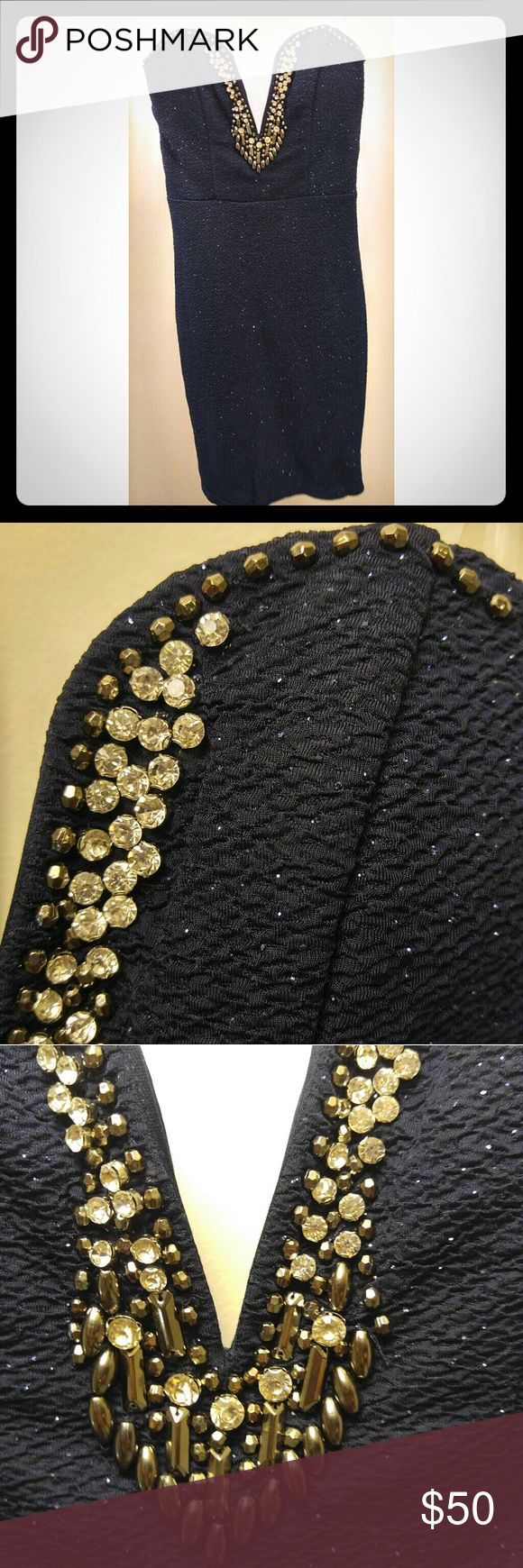 A night on the town Navy blue with rhinestones. Strapless. Dresses Strapless