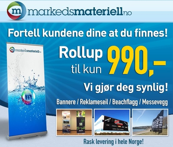 Markedsmateriell.no Intro Markedsmateriell.no is a provider of marketing material focusing on print and production of major formats including large commercial sailing and banners, rollup, beach flags, exhibition walls, flags and more. We are passionate in assisting our clients with increased exposure so that they are easier noticed and thus receives more customers, increase sales and revenue. We live by our customers and are totally dependent on being able to meet our customers' needs.