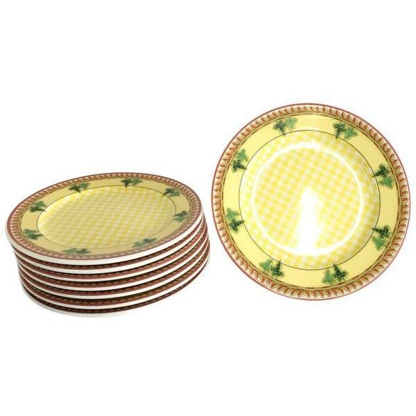 Rosenthal Versace Dessert Plates - Set of 8 (590 BRL) ❤ liked on Polyvore featuring home, kitchen & dining, dinnerware, rosenthal dinnerware, yellow dinnerware, rosenthal, yellow dessert plates and salad dessert plates