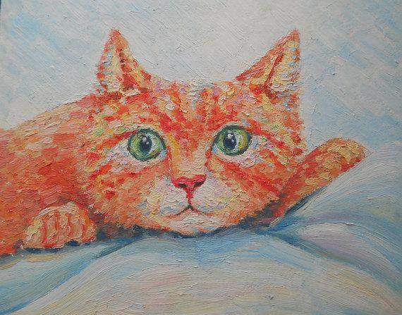 Ginger Cat Painting Pet Portrait Custom Pastel by FrozenLife