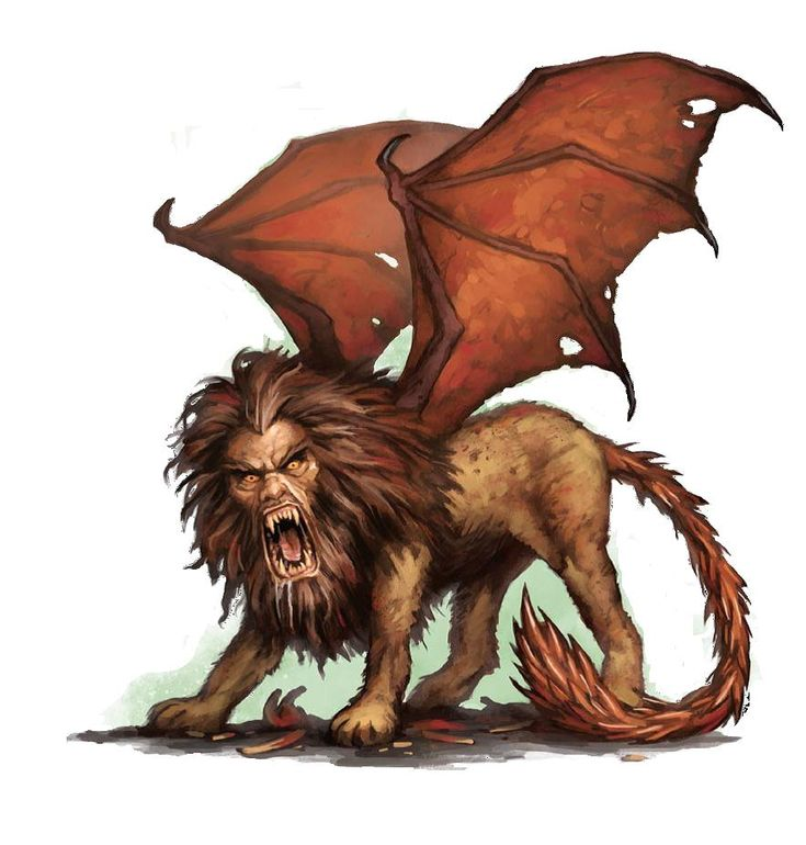 Manticore, A Monster With The Head Of A Man, The Body Of A