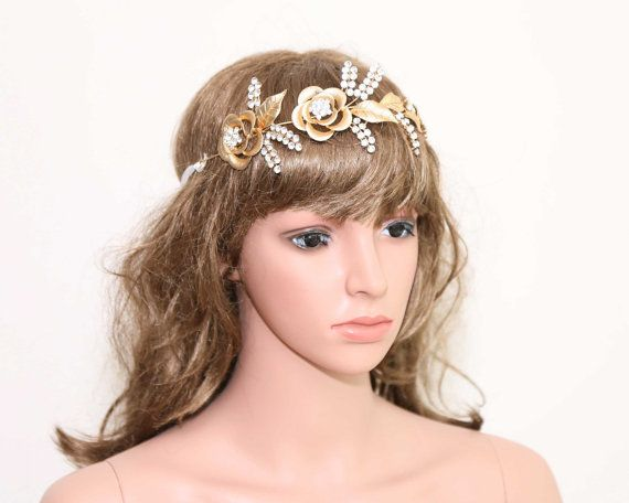 Rosa strass diadema d'oro Fascia di nozze capelli di BlingGarden