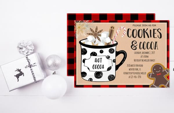 Cookies and Cocoa Invitation Template