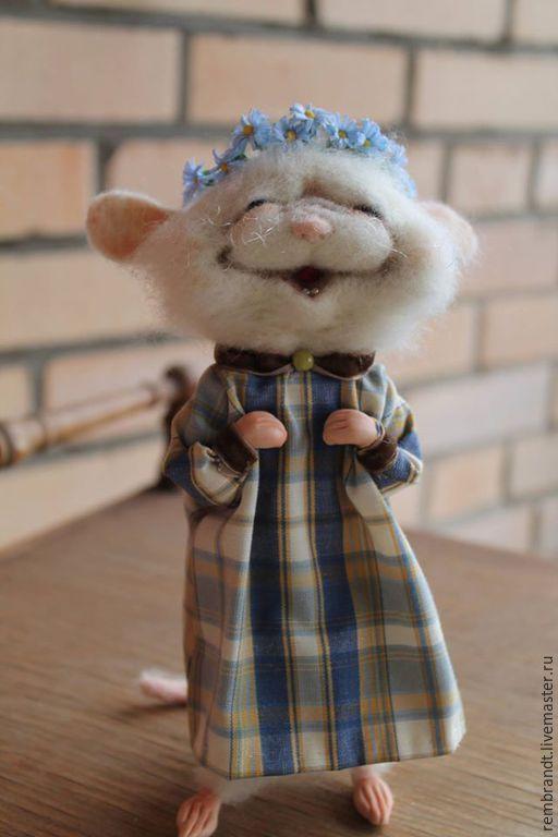 Купить Маргоша - белый, войлочная мышка, шерсть