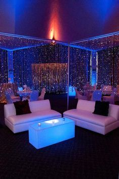 love the dividers with bling and the sofas lounge sections