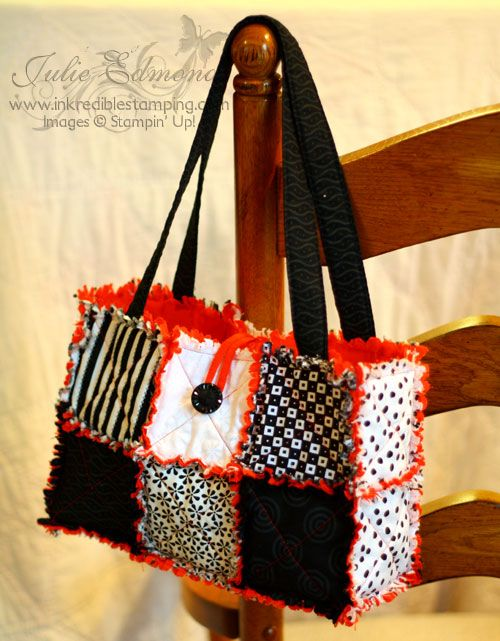 """The Big Shot, Scallop Square, Rag Quilt, Purse"" by Angie Juda via Inkredible Stamping"