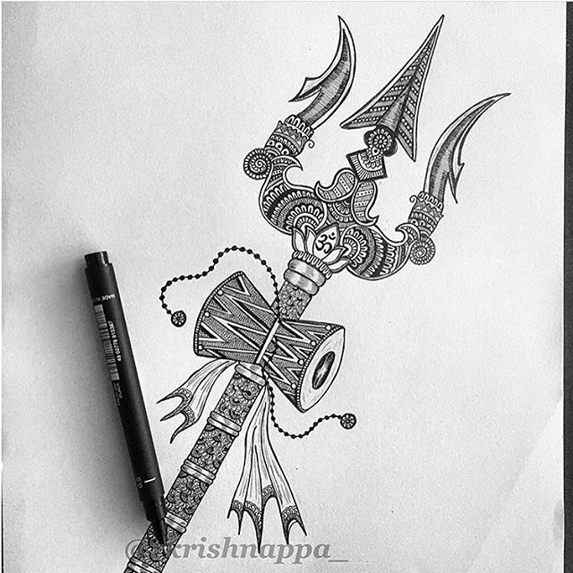 (Repost)Lord Shiva's Trishula and Damru. Trishula meaning 3 spear is a weapon mounted on a long staff. The 3 points of the Trishula have various meanings in Hinduism they are commonly said to represent various tributes - creation, maintenance and destruction or past , present and future . The Damru is a small 2 headed drum used in Hinduism and Tibetan , it is held by Lord Shiva and is said to produce spiritual sounds by which the universe was created. . . #PotpourriOfArtists #WelkinArt…