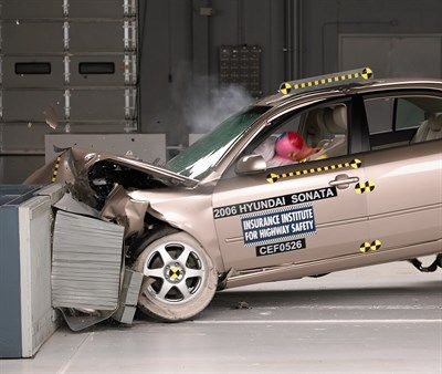 Action shot taken during the second of two frontal offset crash tests.