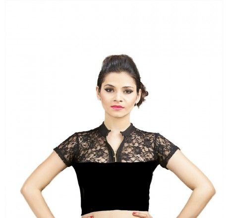 Black Cotton lycra stretchable nonpadded top/blouse. - Stretchable Lycra & Velvet Blouse - Blouses - Saree,Blouse & more