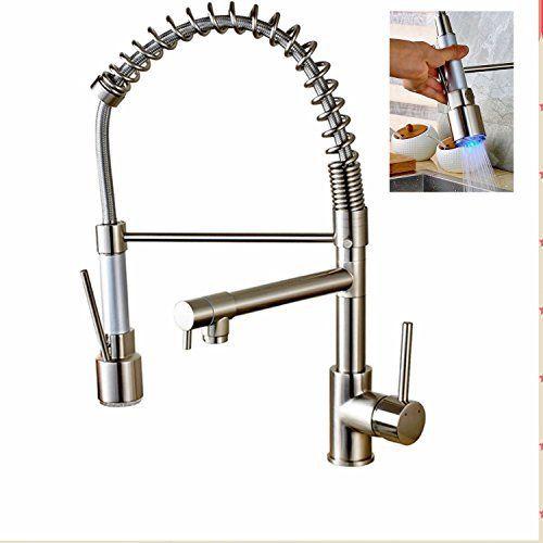 Rozine Nickel brossé LED Pull Down Vaporisateur robinet de cuisine Ressort un trou Mitigeur Robinet deux WATE Modèle Pulvérisateur d':…