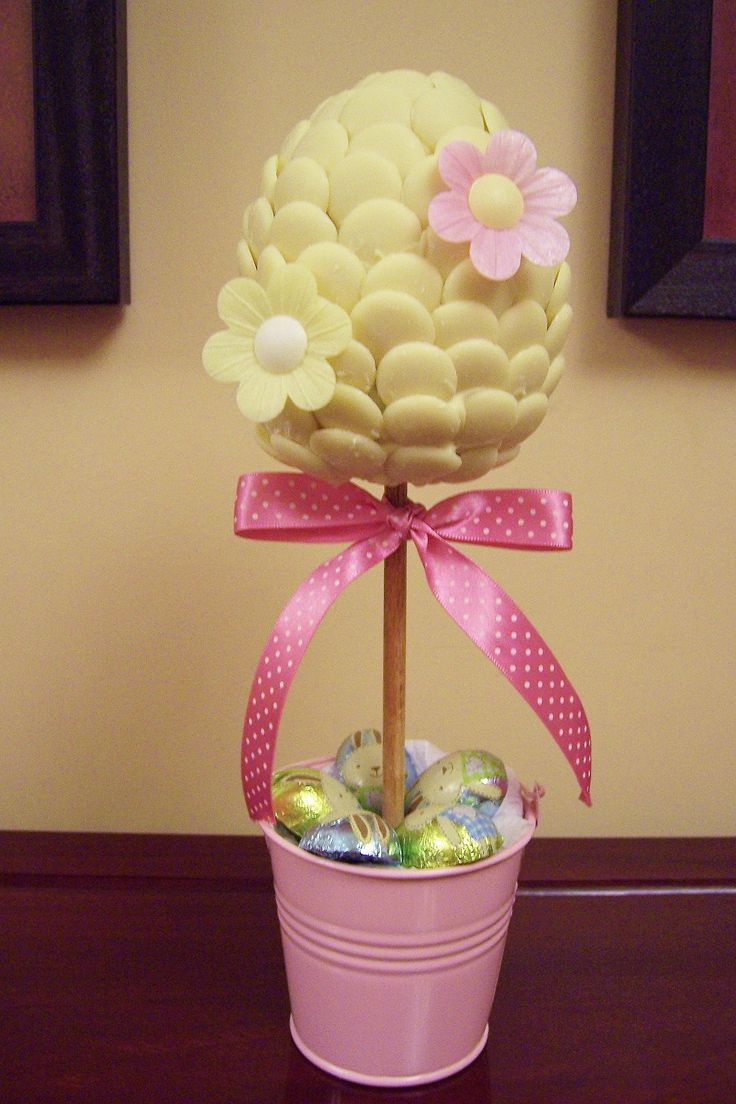 easter, egg shaped white choc button candy tree with edible flowers www.candytreescambridge.co.uk
