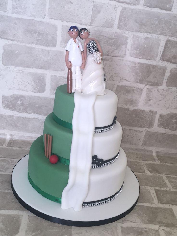 Half cricket half wedding cake