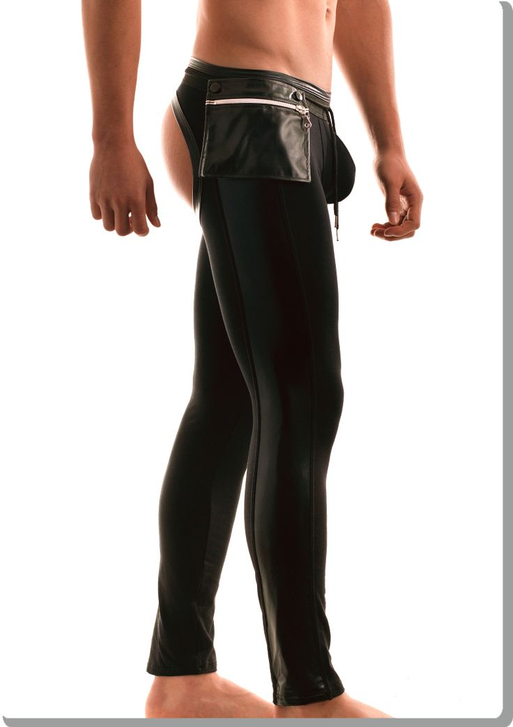 Black workout bottomless leggings with latex details and an extra pocket at the side. The pocket ...