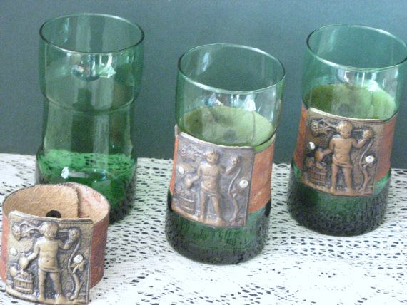 Green Drinking Glasses  Tooled Leather Holster by RicksVintagePlus