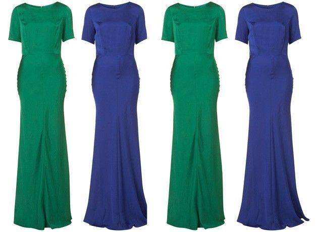 Blue T shirt satin Maxi dress worn ONCE.  UK 10.  Free 1st Class postage. | eBay!