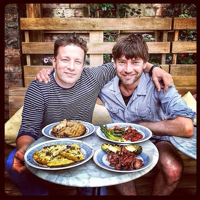 Shameless celebrity endorsement. Jamie wearing the Eugene stripe with Alex James #threeoverone #jamieoliver #alexjames http://threeoverone.com