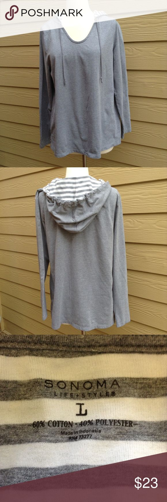 """Sonoma Gray Hoodie Bust is 42"""" and length is 26"""",  great condition Sonoma Tops"""