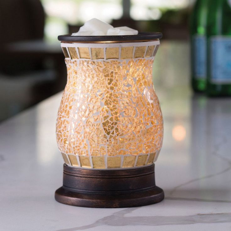 Candle Warmers Etc. Gold-Tone Mosaic Wax Melt Warmer, Multicolor