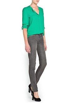 MANGO - KLEDING - Tops - Soepelvallende blouse met maokraag