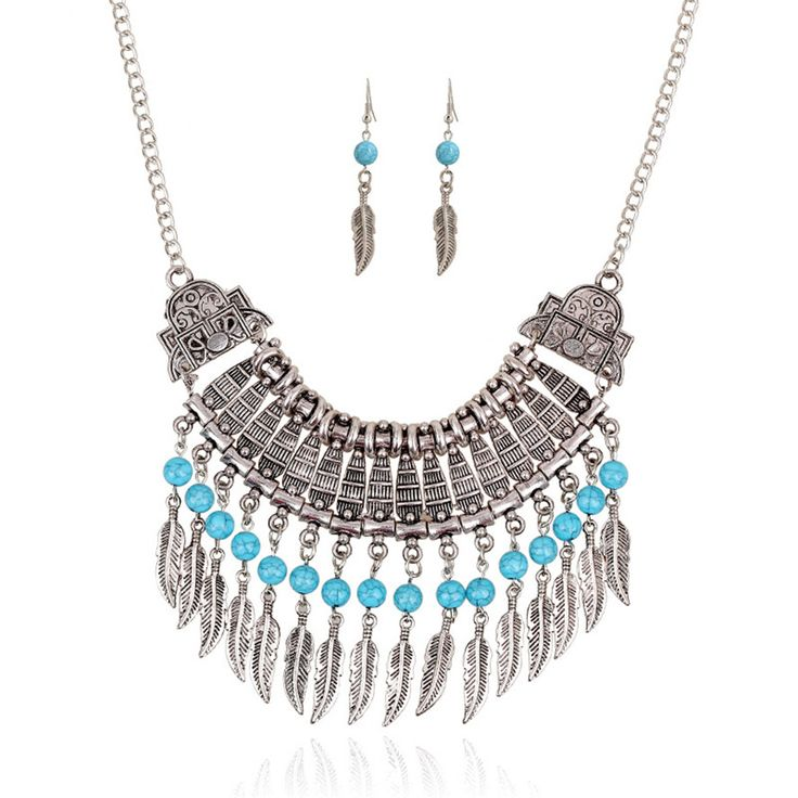 Women Fashion Jewelry Necklace Set Choker vintage turquoise Statement Pendants Necklaces & feather earring For Women gift