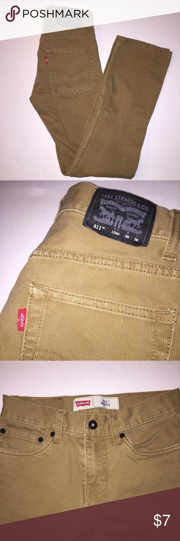 🎉🎉ON SALE🎉🎉 Levi's 511 Boys Skinny Jeans These were only worn 2 or so times! Very unique. Tan color. There is a small black dot just under the knee with minor discoloration around it. Check last picture for details. Levi's Shirts & Tops