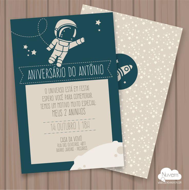 Convite Festa Infantil Astronauta - p imprimir