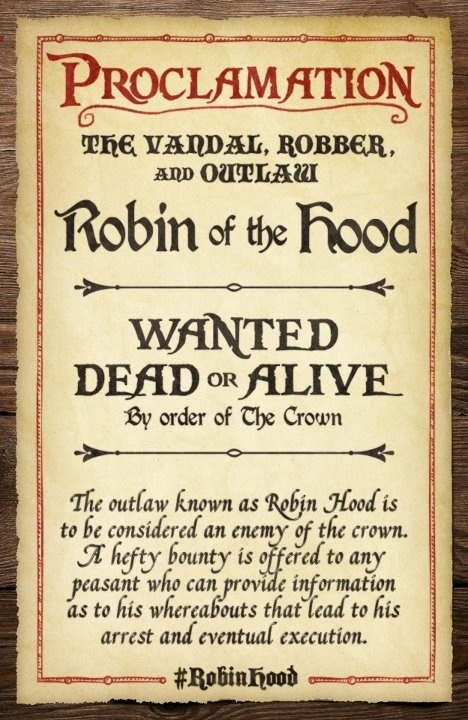 Robin Hood wanted dead or alive poster